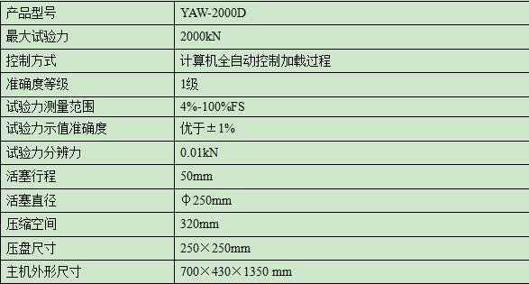 2000KN/200吨hun凝土ya力试验机
